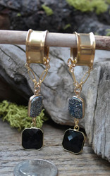Black Druzy and Faceted Black Agate Gauged Earrings