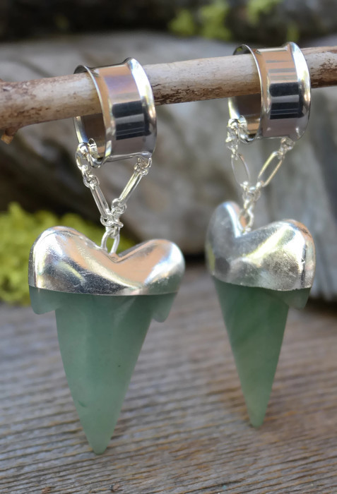 Aventurine Magnetic Clasp Gauged Earrings
