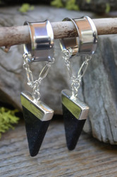 Blue Goldstone Silver Gauged Earrings