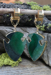 Green Agate Arrowhead Gauged Earrings