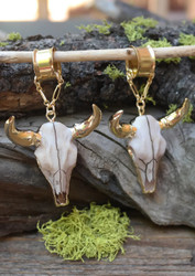 Bull Skull Magnetic Clasp Gauged Earrings