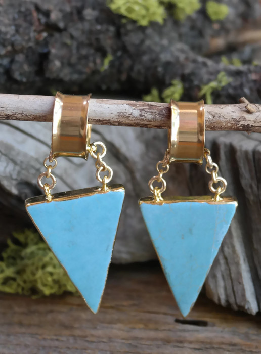 Turquoise Electroformed Magnetic Clasp Gauged Earrings