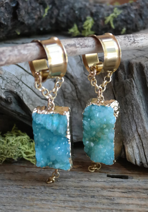Light Blue Druzy Magnetic Clasp Gauged Earrings