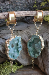 Green Druzy Magnetic Clasp Gauged Earrings