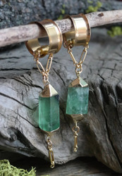 Green Fluorite Electroformed Magnetic Clasp Gauged Earrings