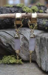 Rose Quartz Large Gauge Magnetic Clasp Earrings