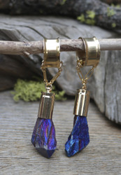 "Blue Titanium ""Aura"" Crystal Point Gauged Earrings"