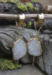 White Druzy Magnetic Clasp Gauged Earrings