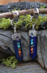 Lapis Chakra Magnetic Clasp Gauged Earrings