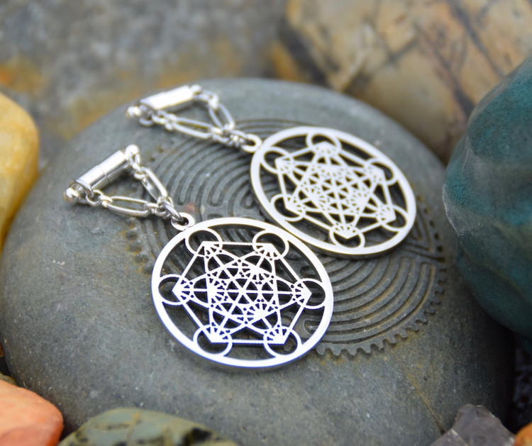 Metatron's Cube Magnetic Clasp Earrings in Silver