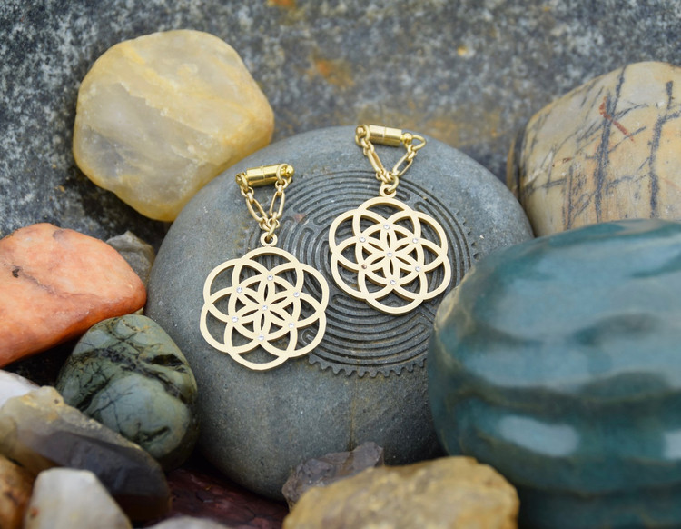 Seed of Life Magnetic Clasp Gauged Earrings in Gold