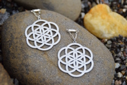 Seed of Life Magnetic Clasp Gauged Earrings in Silver