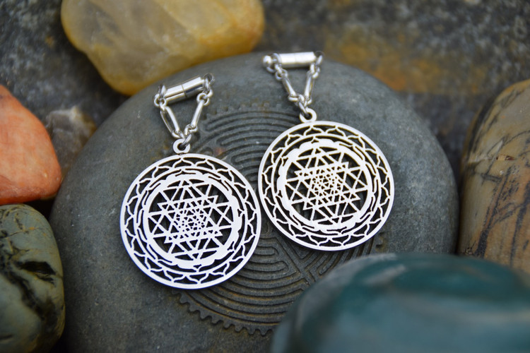 Sri Yantra Magnetic Clasp Gauged Earrings in Silver