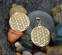 Flower of Life Magnetic Clasp Gauged Earrings in Gold