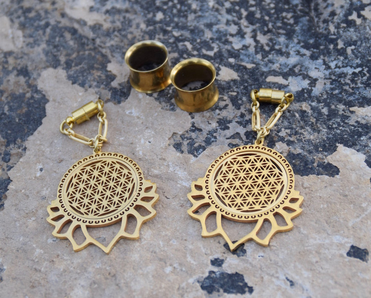 Flower of Life Lotus Gauged Earrings in Gold