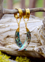 Abalone Magnetic Clasp Gauged Earrings
