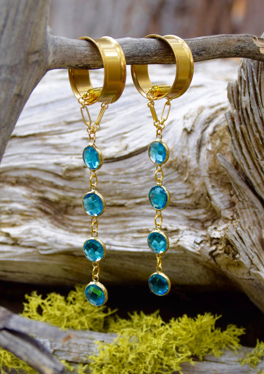 Blue Faceted Hanging Magnetic Clasp Earrings