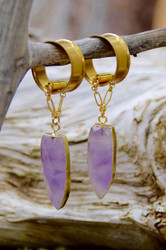 Faceted Amethyst Hanging Magnetic Clasp Gauged Earrings