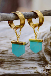 Turquoise Magnetic Clasp Gauged Earrings