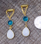 White Druzy and Faceted Blue Glass Magnetic Clasp Gauged Earrings