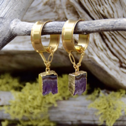 Raw Amethyst Magnetic Clasp Gauged Earrings