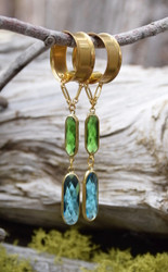 Blue and Green Faceted Hanging Magnetic Clasp Gauged Earrings