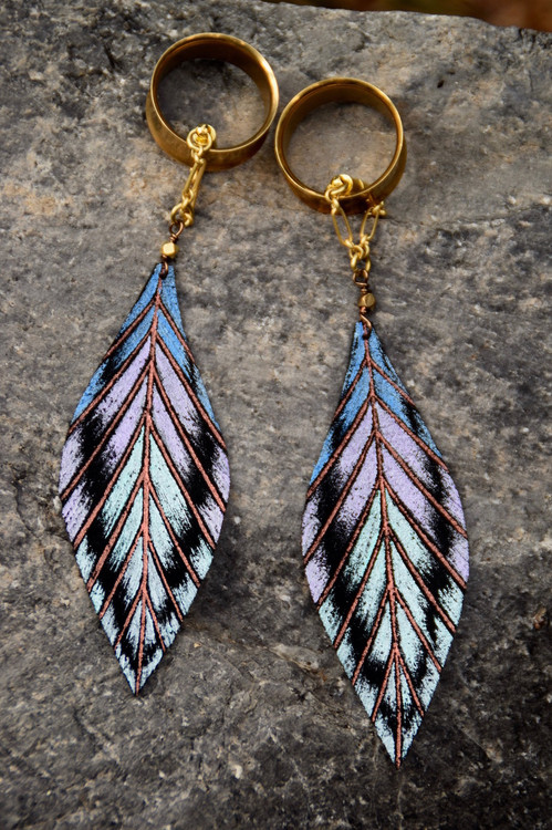 Hand Painted Leather Feather Gauged Earrings from BellaDrops