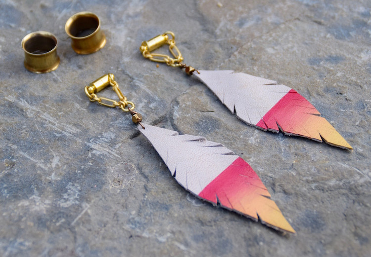 Pink and Gold Hand Painted White Leather Feather Gauged Earrings