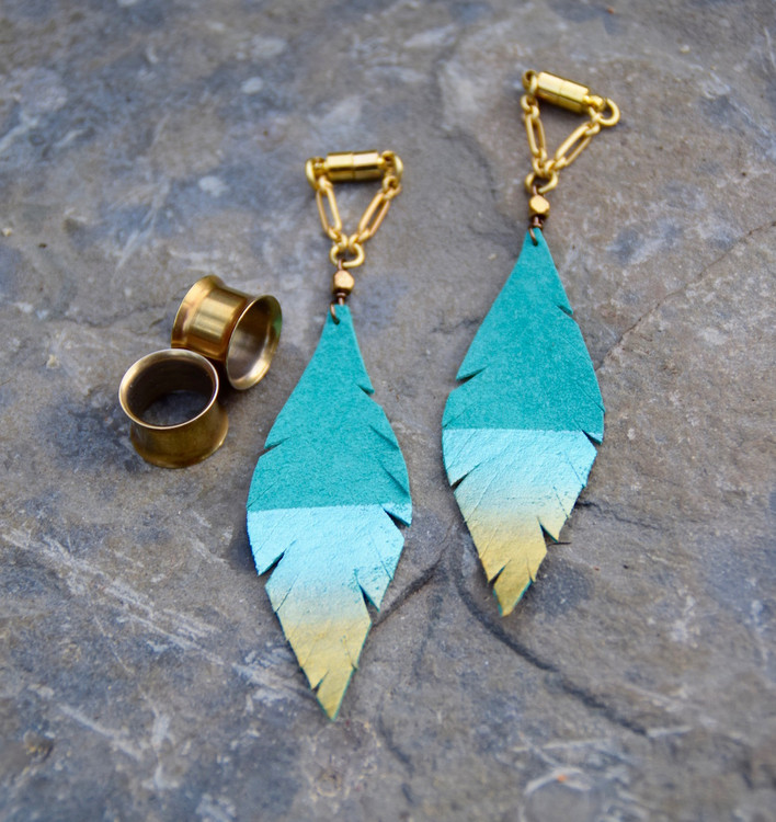Teal and Gold Hand Painted Teal Leather Feather Gauged Earrings