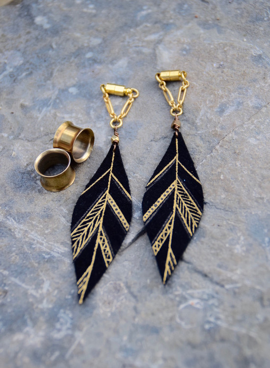 Black and Gold Hand Painted Leather Feather Gauged Earrings