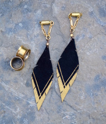 Gold and Black Hand Painted Leather Feather Gauged Earrings