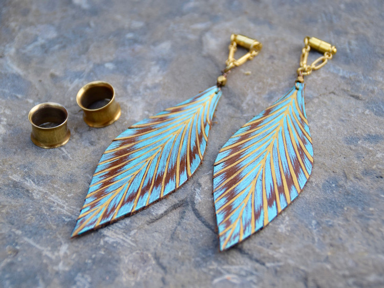 Hand Painted Teal Leather Feather Magnetic Clasp Gauged Earrings