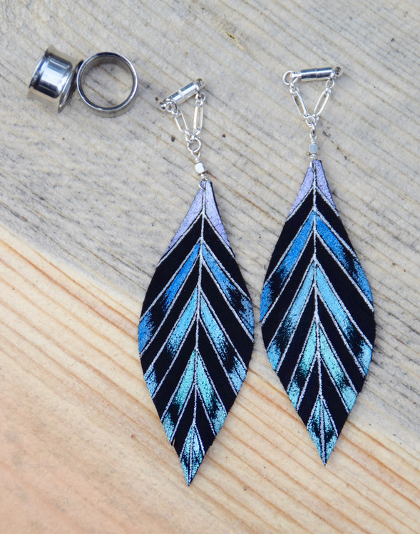 Hand Painted Blue and Teal Leather Feather Gauged Earrings