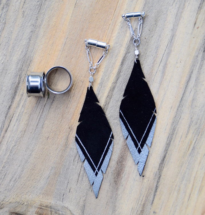 Silver and Black Leather Feather Gauged Earrings
