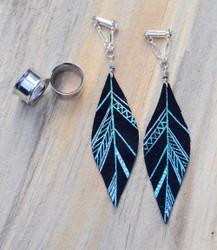 Blue, Silver and Black Leather Feather Gauged Earrings