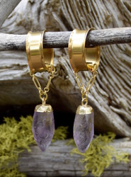 Faceted Amethyst Magnetic Clasp Gauged Earrings