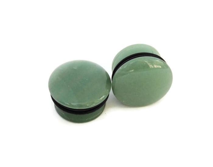 Green Aventurine Single Flared Stone Plugs