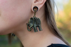 Elephant Magnetic Clasp Gauged Earrings