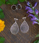 Filigree Silver Tear Drop Magnetic Clasp Gauged Earrings