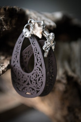 Wooden Magnetic Clasp Gauged Earrings