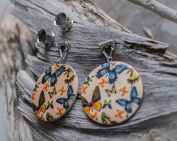Wooden Butterfly Magnetic Clasp Gauged Earrings