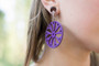 Purple Laser Cut Wooden Magnetic Clasp Gauged Earrings