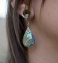 Abalone Tear Drop Magnetic Clasp Gauged Earrings