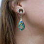 Abalone and Silver Tear Drop Magnetic Clasp Gauged Earrings