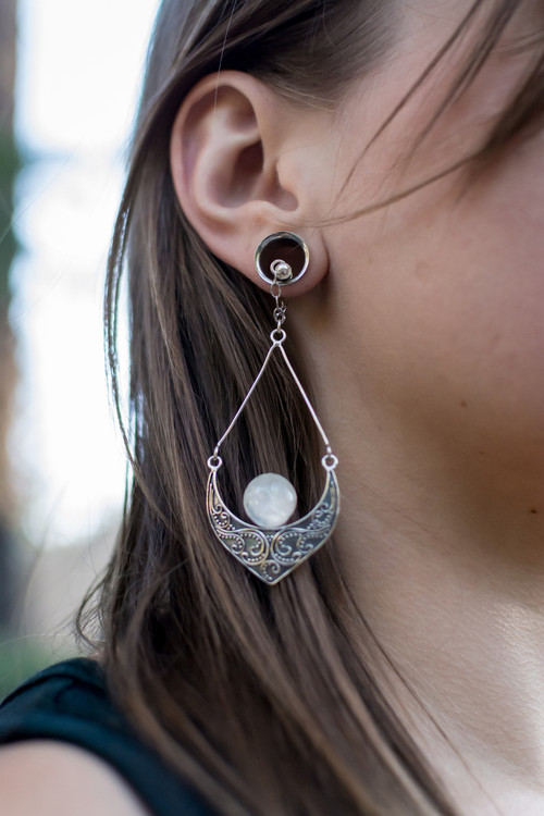 Moonstone and Sterling Silver Filigree Magnetic Clasp Gauged Earrings