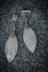 Mother of Pearl and Sterling Silver Magnetic Clasp Gauged Earrings