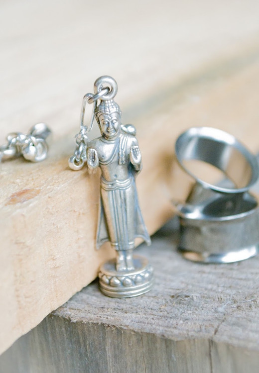 """Standing Buddha """"Repelling the Ocean"""" Silver Magnetic Clasp Gauged Earrings"""