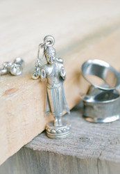 "Standing Buddha ""Repelling the Ocean"" Silver Magnetic Clasp Gauged Earrings"