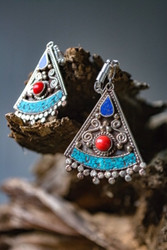 Afghan Turquoise and Coral Silver Magnetic Clasp Gauged Earrings
