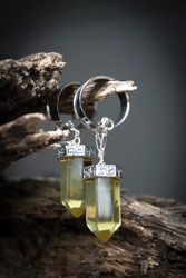 Citrine Quartz Hanging Magnetic Clasp Gauged Earrings